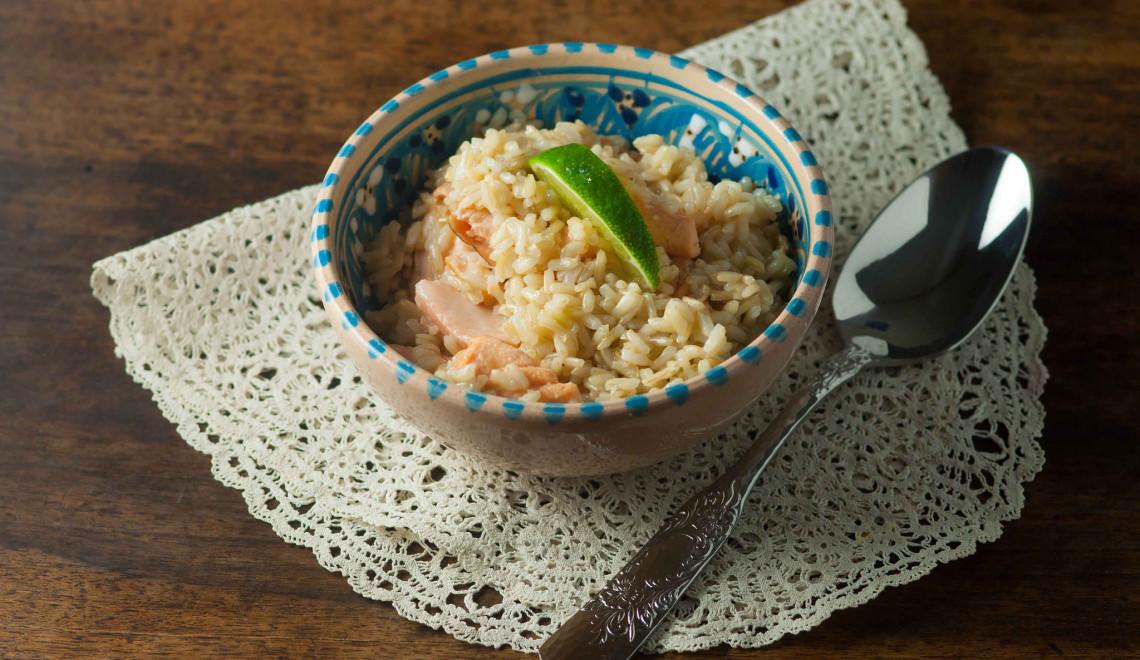 riso integrale salmone miele lime